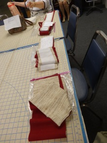 Examples of stoles being constructed for a Lenten set commissioned after the style displayed at our fall meeting