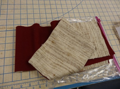Beige Tussah silk reversible to a dark red
